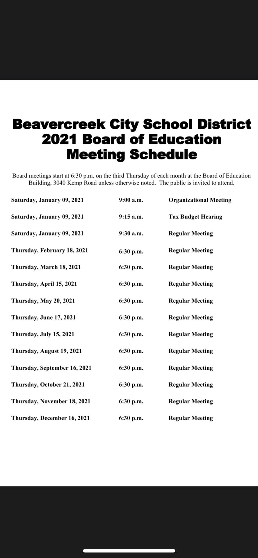 2021 meeting schedule