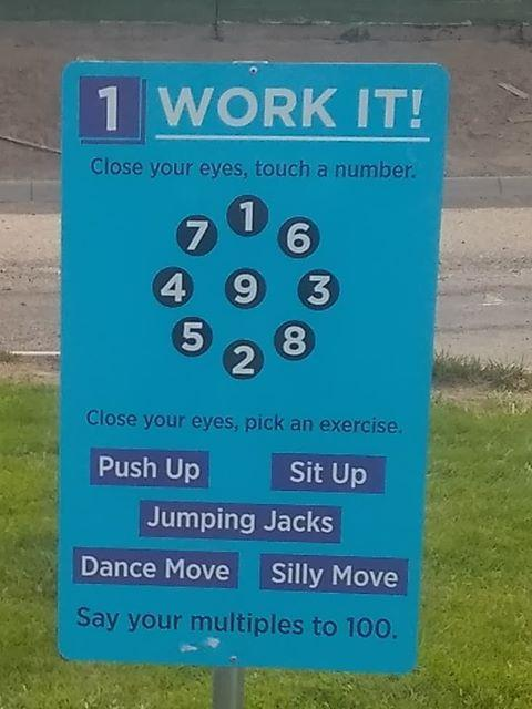 Work It sign at the playground at Snake River Elementary.