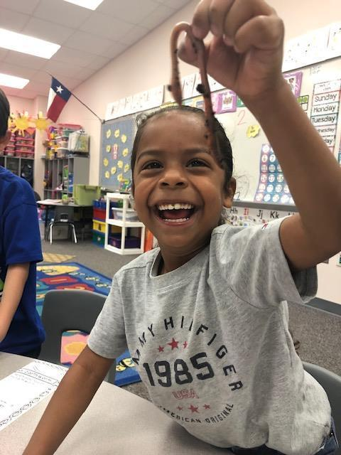 North Elementary pre-kindergartners in Kendra Benedict's class recently learned about living vs. non-living things in science. They ended the week by observing, measuring, comparing, and recording data about their findings about real worms and gummy worms.