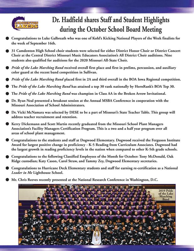 Staff and Student Highlights from the Monthly School Board Meeting Featured Photo