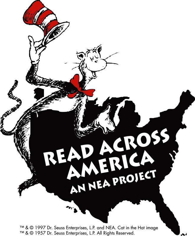 Logo, Cat in the Hat, outline of a map of the USA