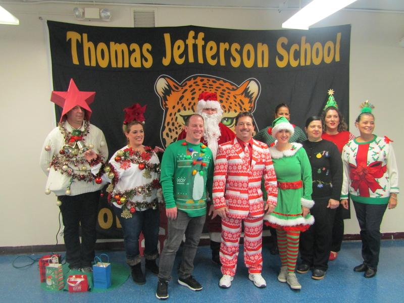 ugly christmas sweater participants group picture