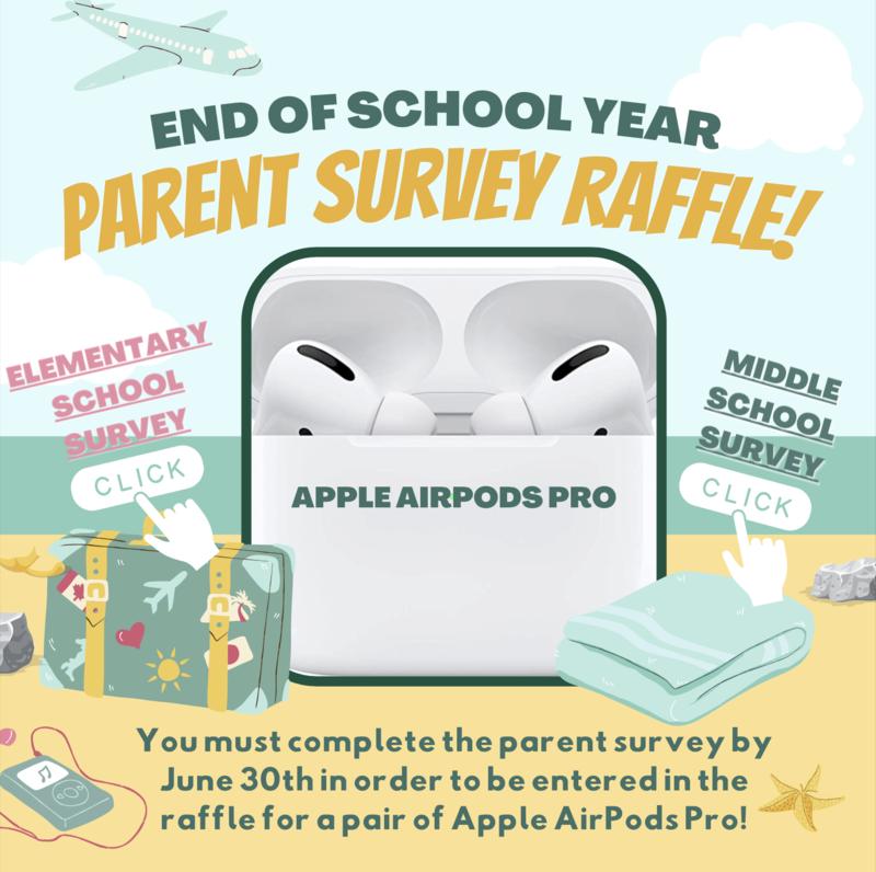 End of School Year Parent Survey Raffle/ Rifa de la encuesta para padres de fin de año escolar. Thumbnail Image