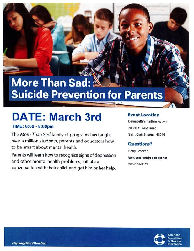 Flyer for Suicide Prevention Mtg