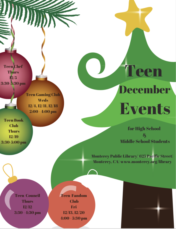 December Teen Library Events