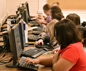 Elementary students at computers