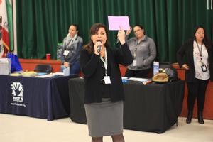 Principal Mrs. Diaz-Sepulveda greets everyone at the Lairon Showcase.