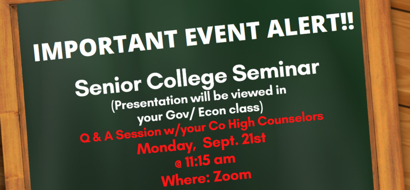 Senior College and Financial Aid Seminar Flyer