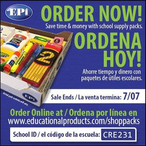 EPI order your school supplies