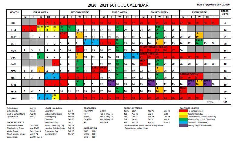 2020-2021 School District Calendar Thumbnail Image