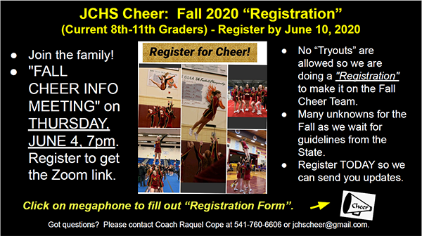 2020-2021 Cheer Registration Information