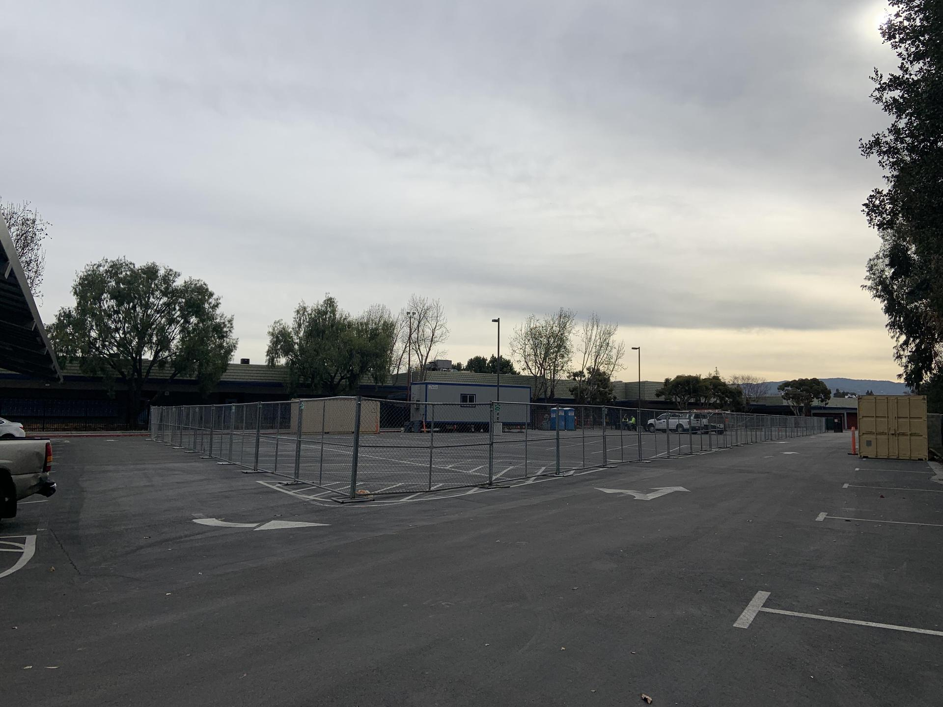 Fencing in Staff Lot