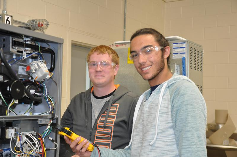 Bartow County College and Career Academy students working in the HVAC Program.