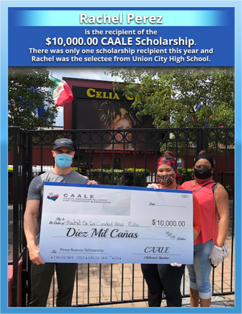 Rachel Perez and family with a check from CAALE