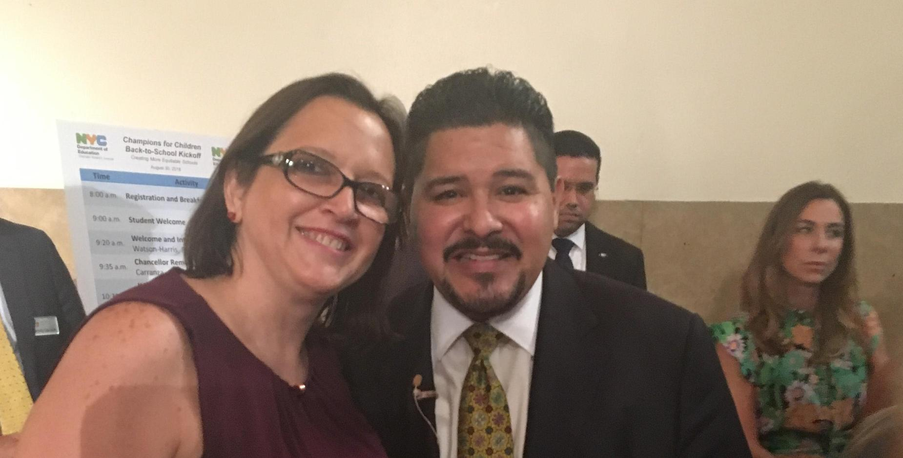 Principal Ms. Zambrano with School Chancellor Carranza