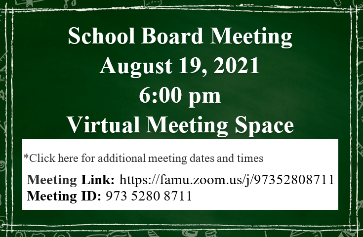 August 19, 2021 School Board Meeting Notice