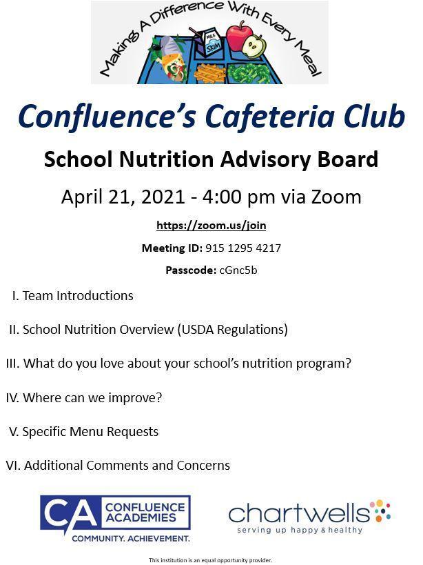Jois Us!  Confluence's Cafeteria Club - April 21st