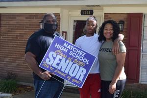 Natchez High Principal Eric Jackson and 2020 Graduate