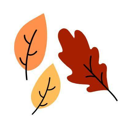 Three orange, yellow, and red fall leaves