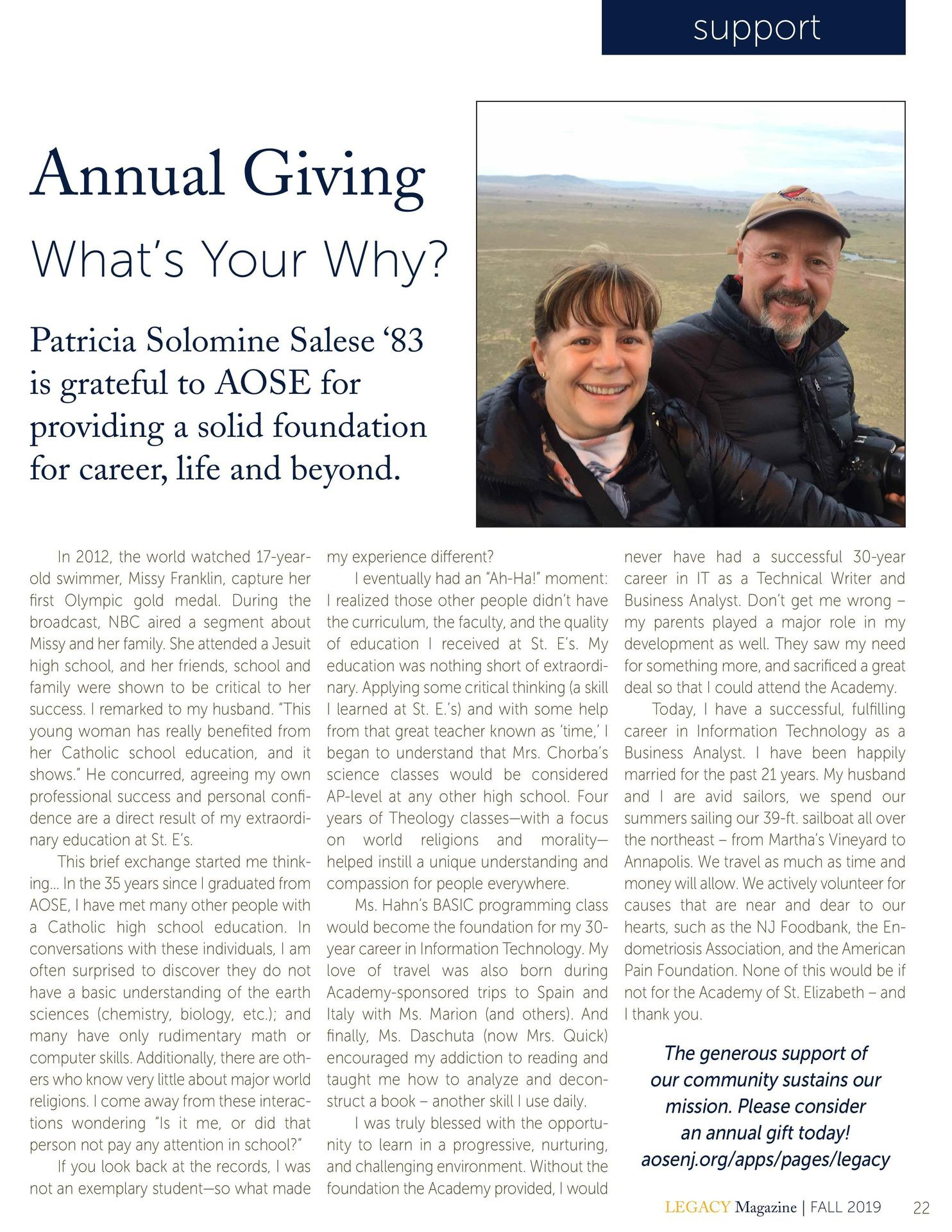 Legacy Magazine Annual Giving Letter