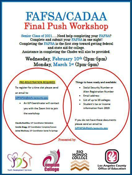 Free Application for Federal Student Aid Workshops 2/10/21 & 3/1/21 Featured Photo