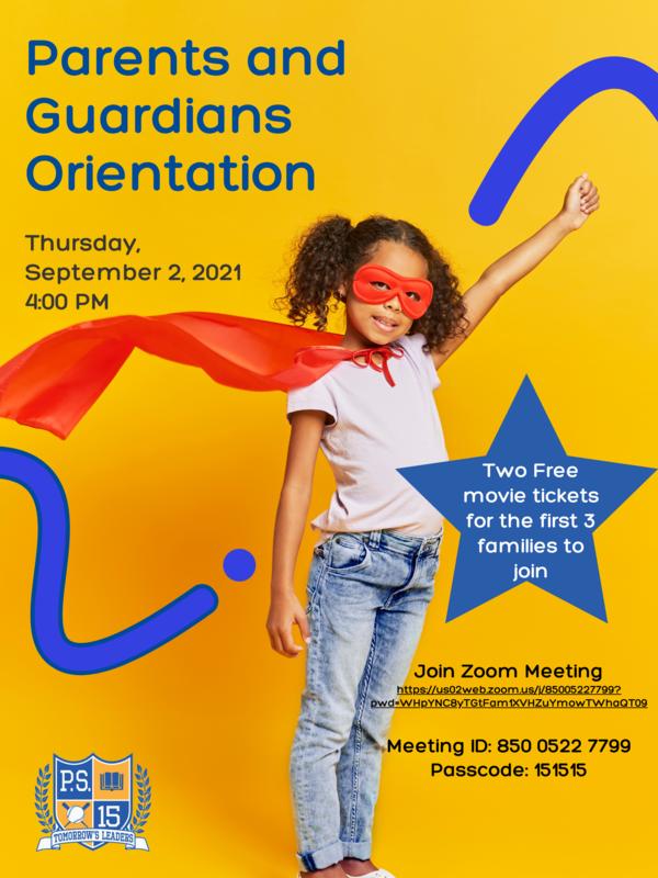Parent orientation flyer with superhero girl