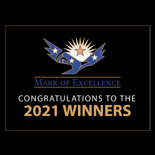 mark of excellence logo on graphic that reads congrats to the 2021 winners