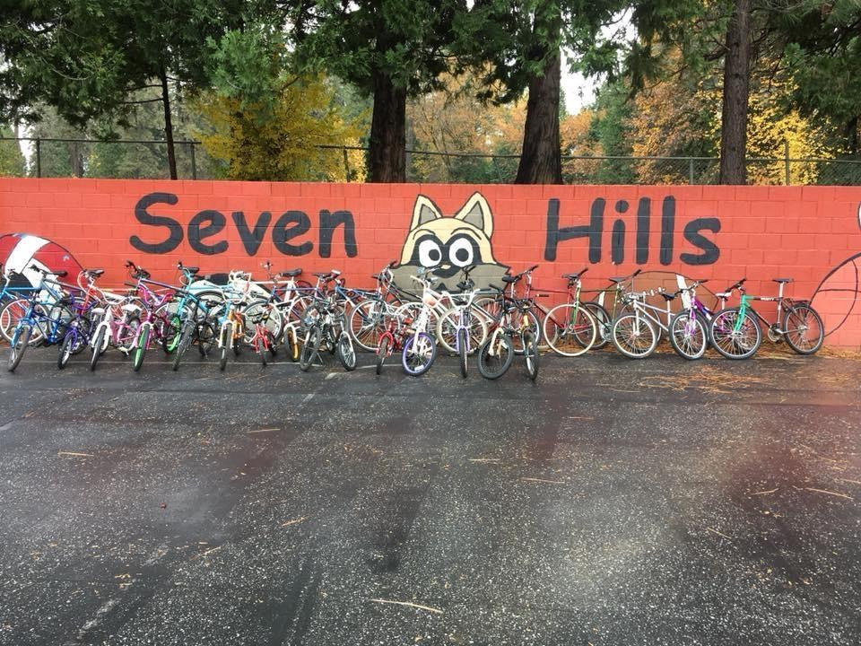 Seven Hills Ball Wall with Bikes from Bicycle Recycle