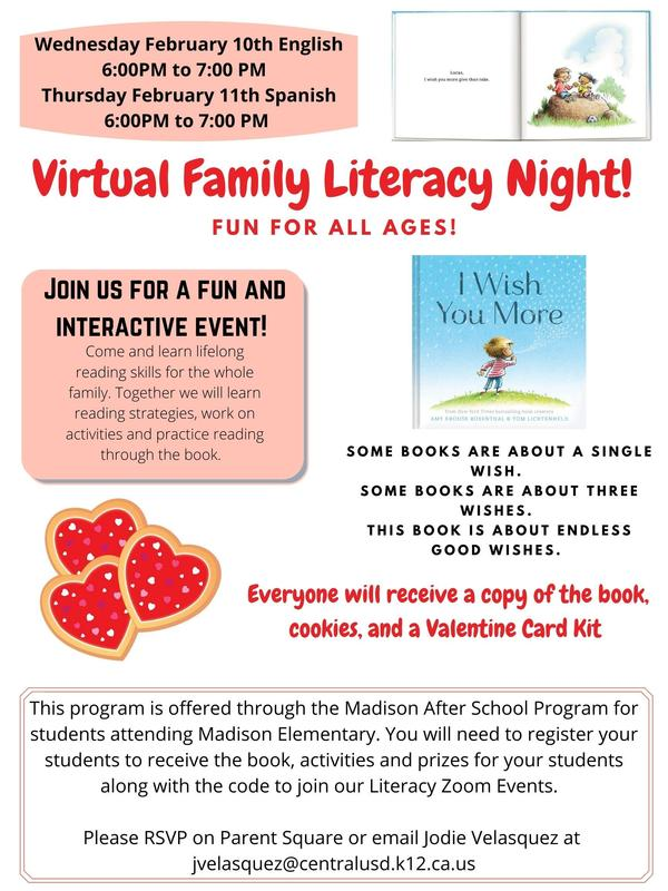 Virtual Family Literacy Night Flyer in English