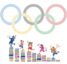 Olympic rings over kids on books