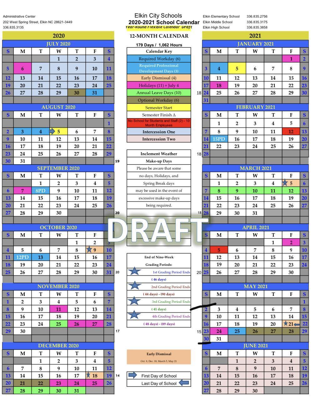 Wsfcs 2021 Calendar Elkin City Schools