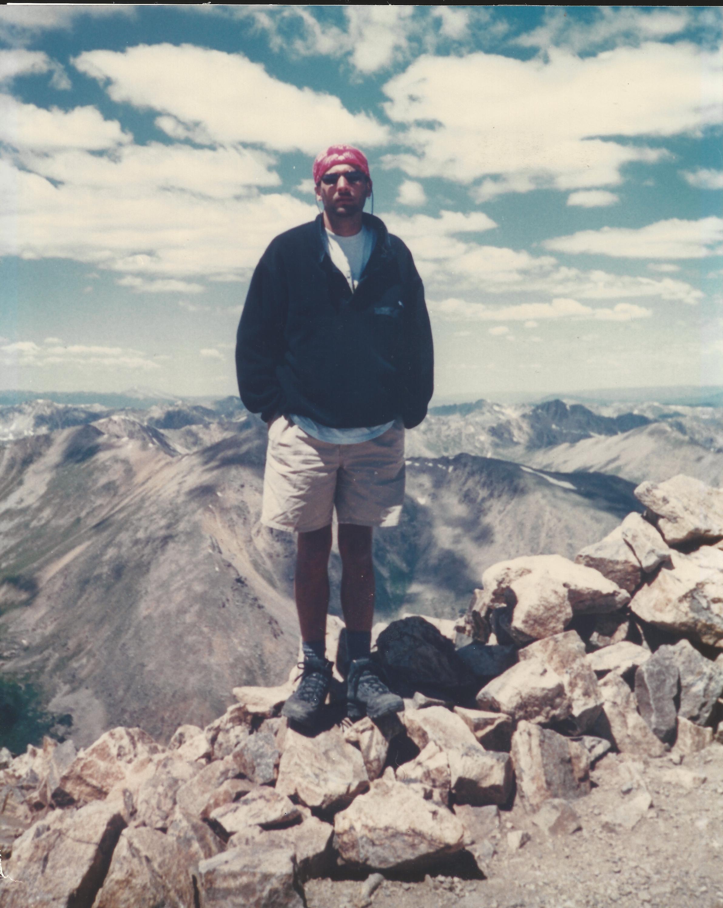 Mr. Emmons on top of Mt. Elbert in Colo.