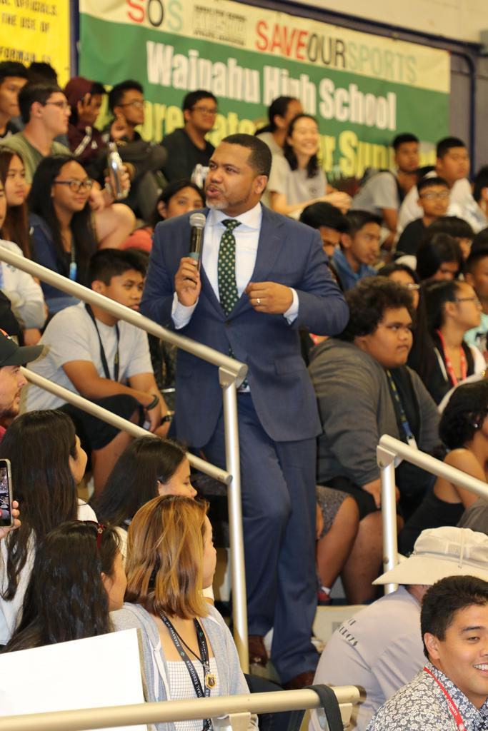 M. Scott speaks to student body