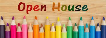 colored pencils with text 'open house'