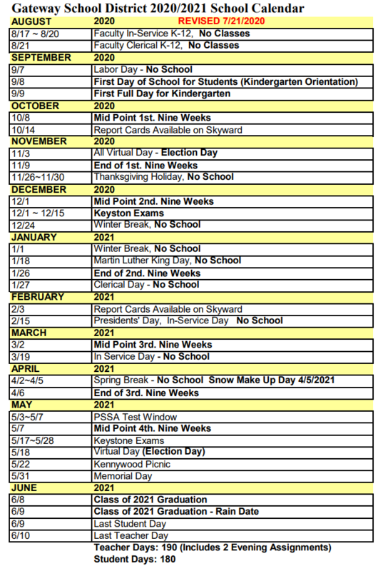 2020/2021 School Calendar Revised on 7/21/2020 Thumbnail Image