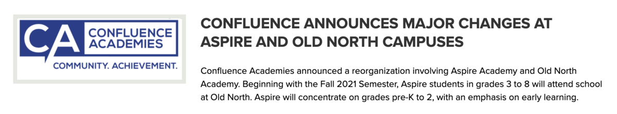 confluence major changes aspire and old north