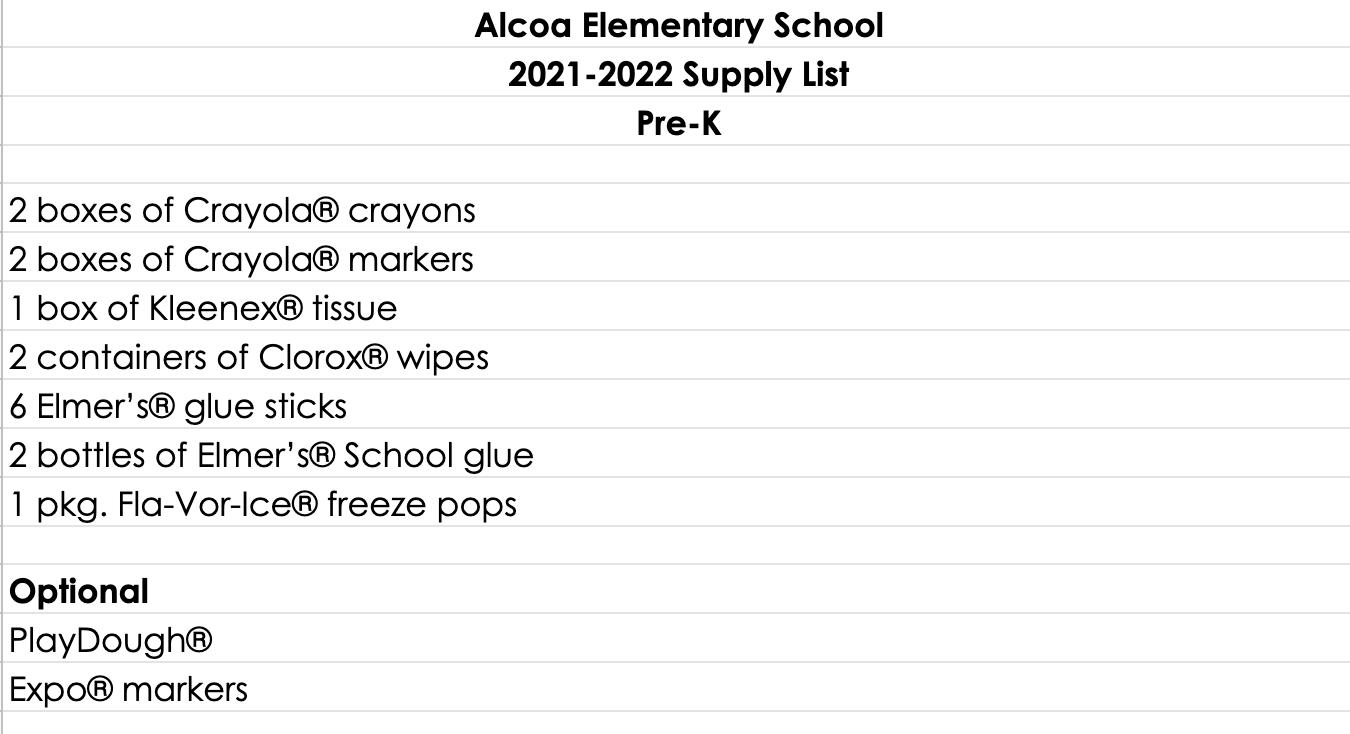 Pre-K 2021-22 Supply List