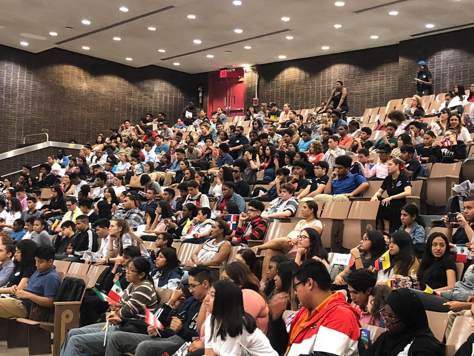group of students in auditorium