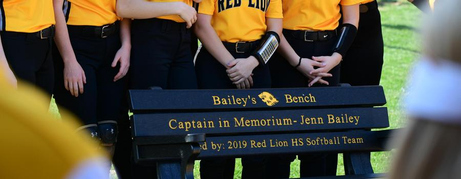 Dedication of Bailey's Bench at the April 6, 2021 Varsity softball game. The bench was placed in memory of Jenn Bailey a member of the softball team from 2004-2006.