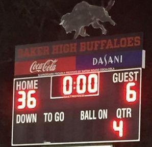 photo of scoreboard from Baker's football win over West Feliciana - 36 to 0