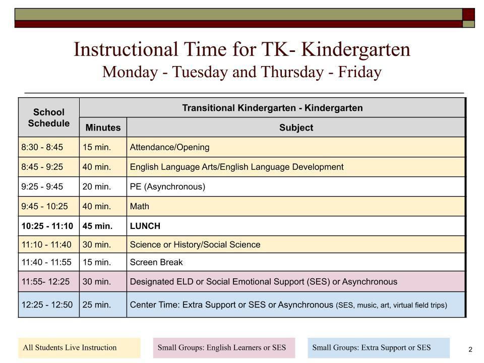 TK/K Virtual Academy Schedule