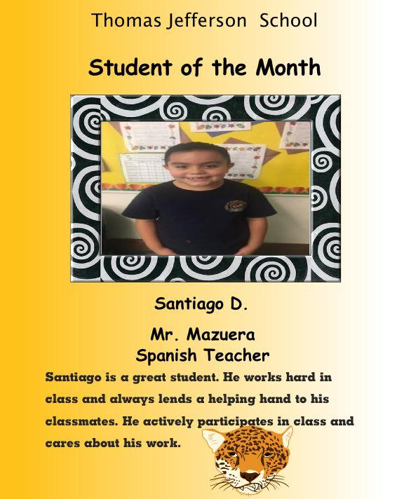 Santiago spanish student of the month