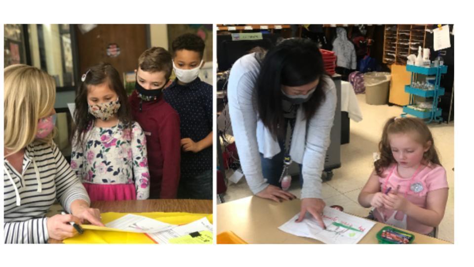 Kindergarten Teachers assist Kindergarten Students