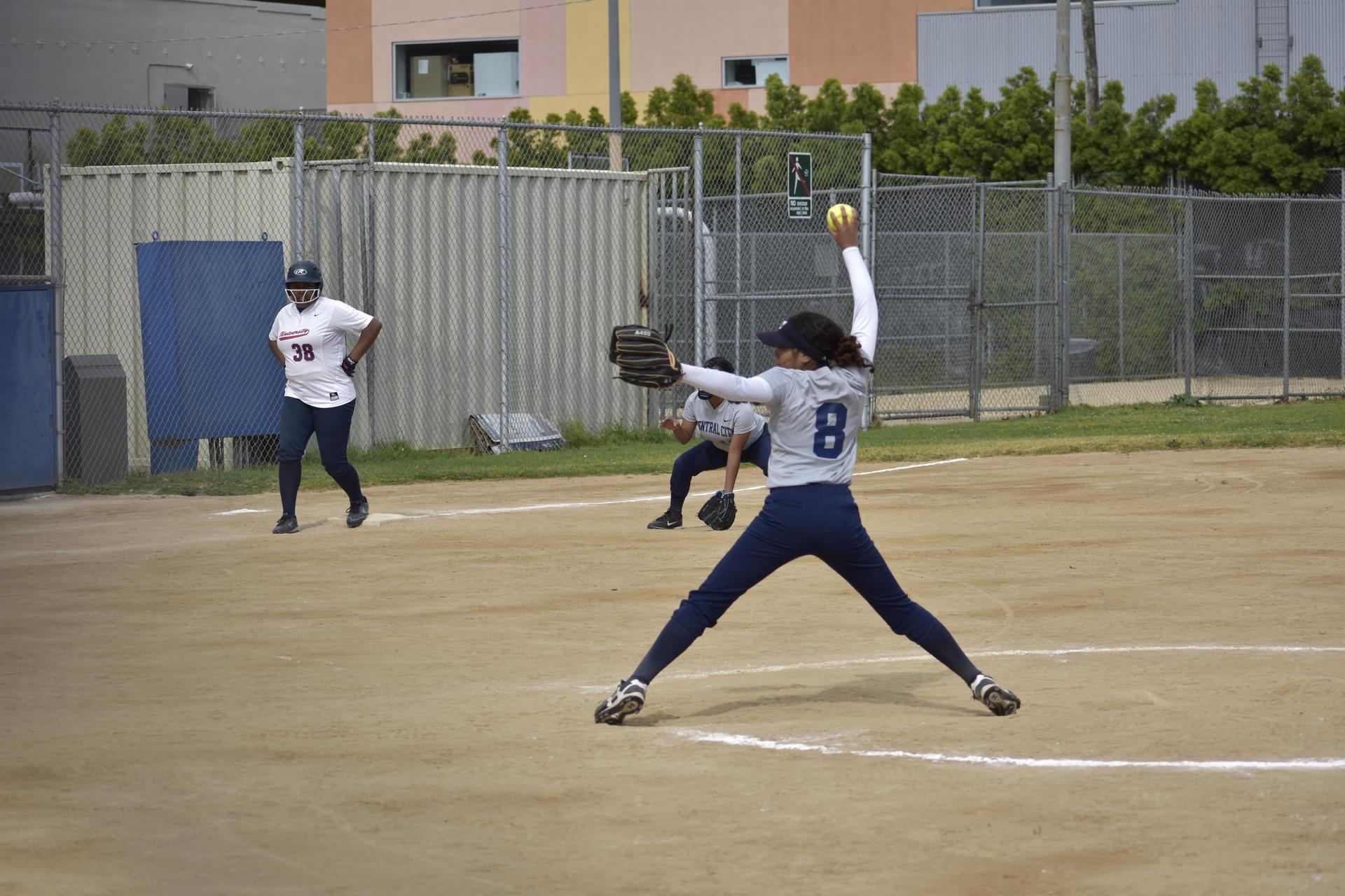Jaguars Pitcher Sophia Vasquez pitching vs University Prep Value