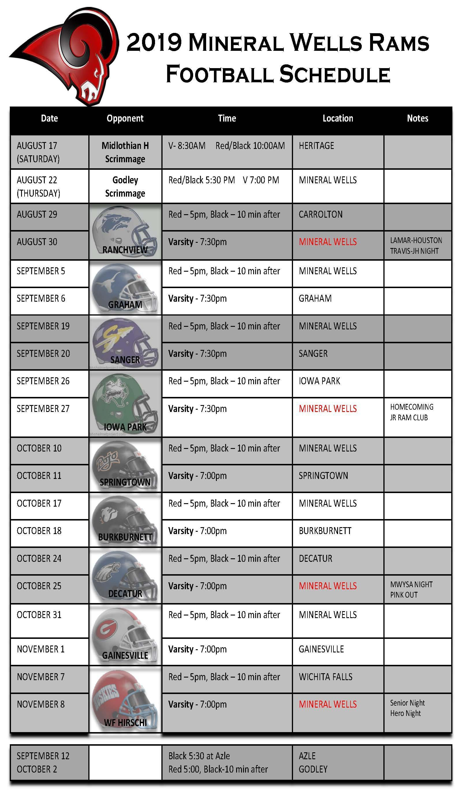Rams Football Schedule