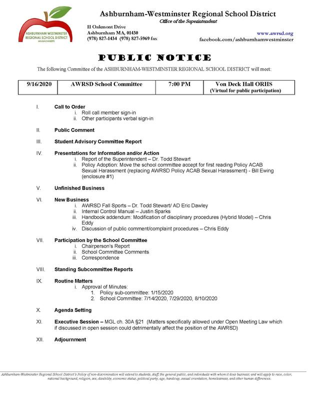 School Committee Meeting 9/16/2020 **Rescheduled from 9/15/2020 Featured Photo