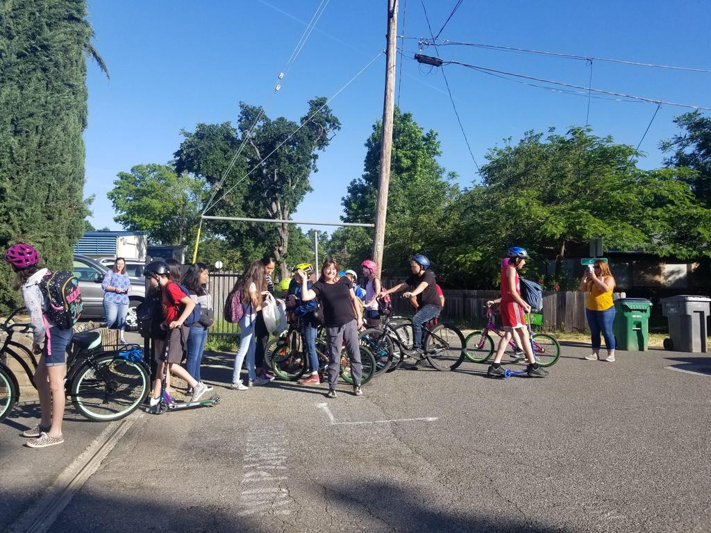 Students ride their bikes to school