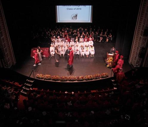 Graduation on the main stage of the Reskin Theater.