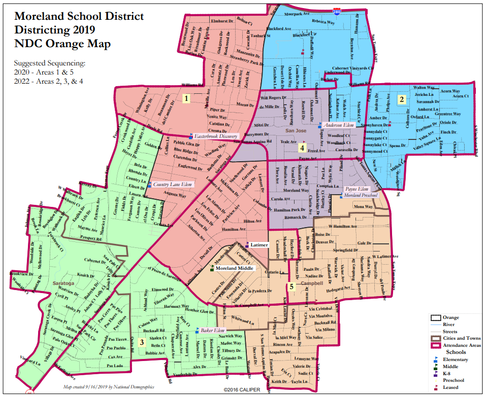 Proposed Map 2: National Demographics Corporation Orange Map Option for Moreland School District By-Trustee CVRA Process