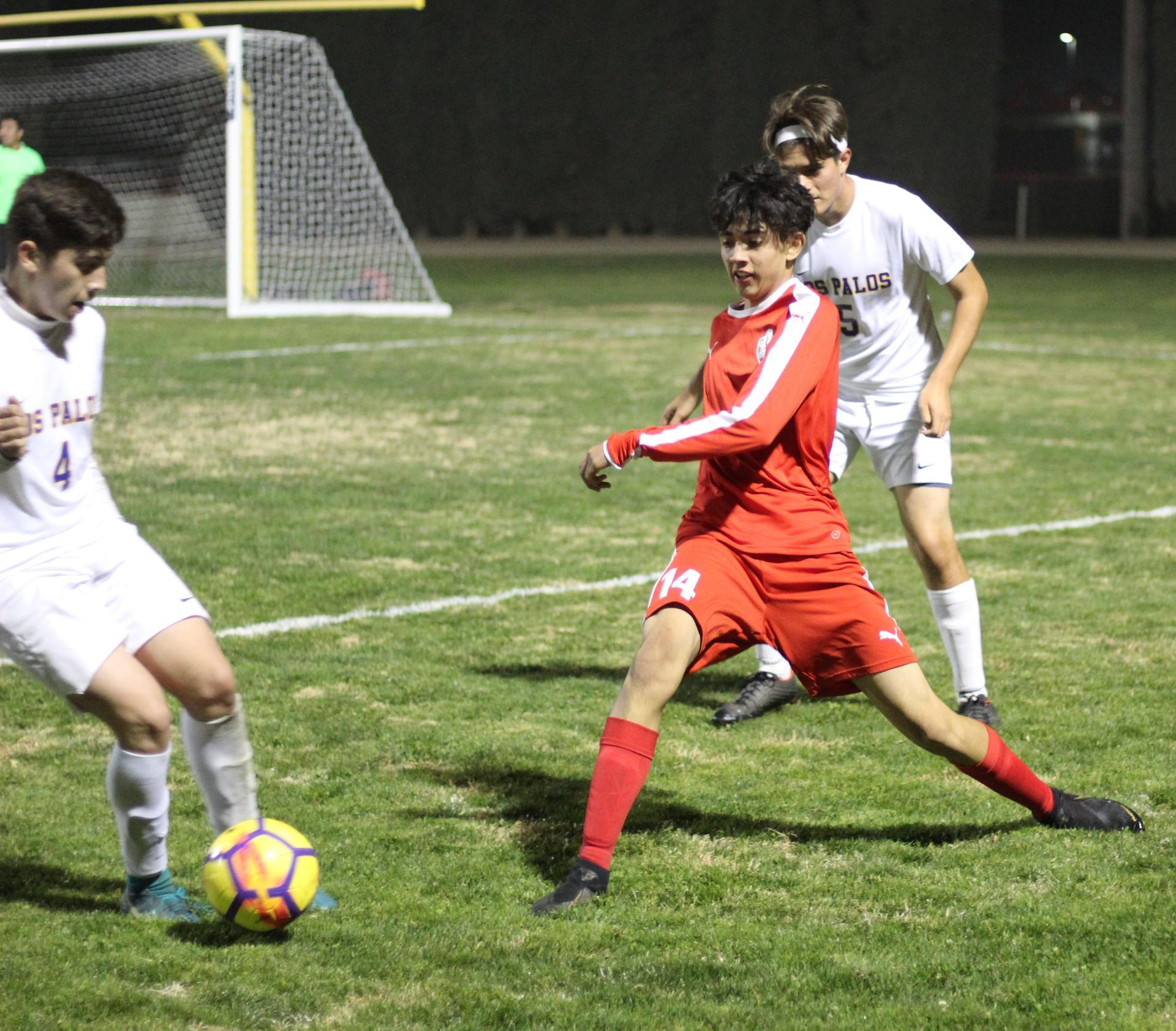 Ruben Villalobos going for the ball